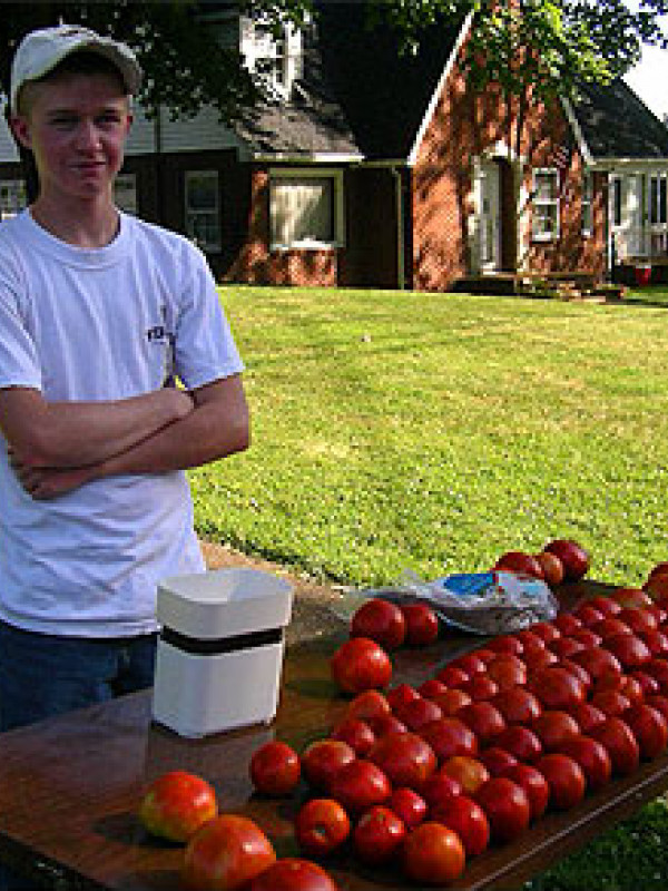 A kid selling tomatoes in his front yard
