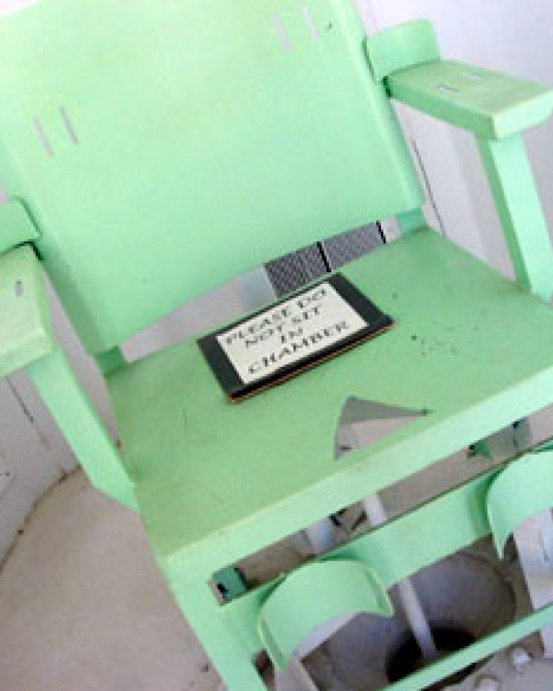 An execution chair in Cañon City's prison museum