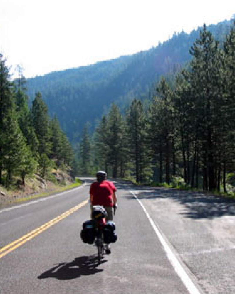 Steve riding in the Salmon River valley