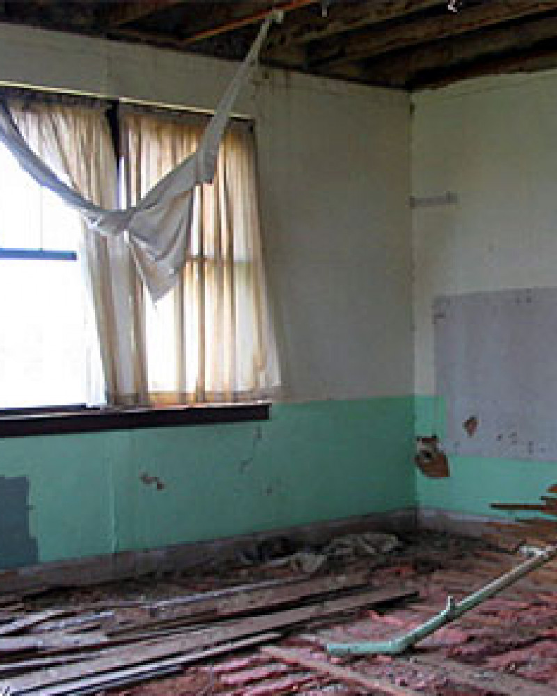 A classroom in the abandoned school