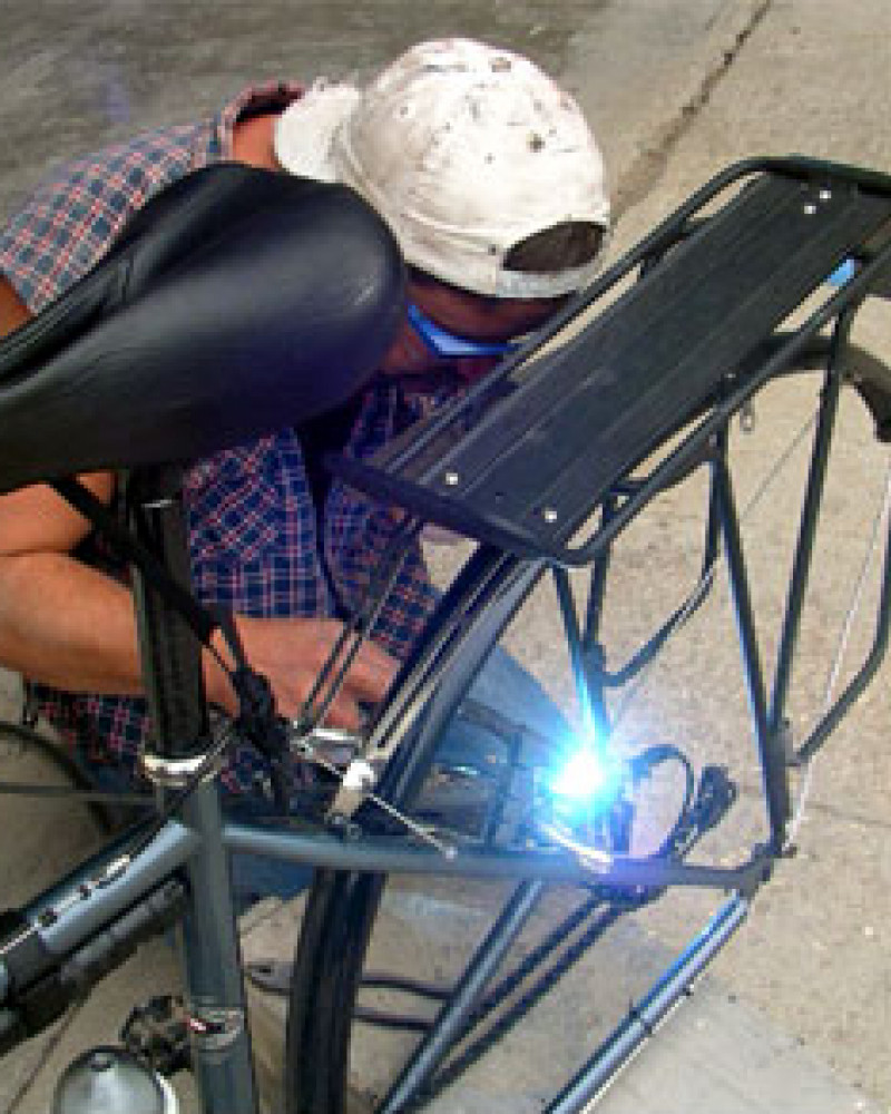 Repairs to Mickey's bicycle