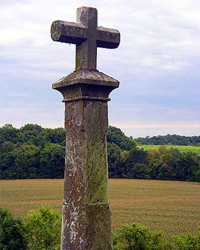 A tombstone at St. Rose