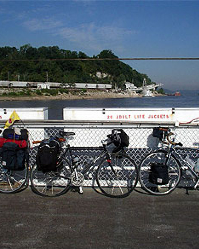 The bikes on the ferry on the Mississippi