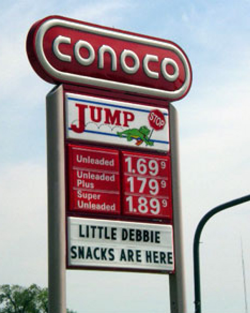 Cheap gas and Little Debbie. Oh, the savings