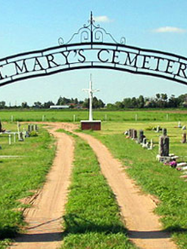 A cemetery between the fields
