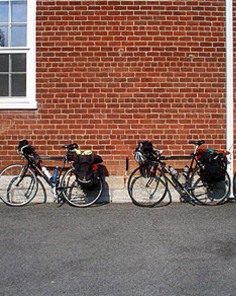 A line of touring bicycles at Elk Garden Methodist Church